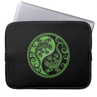 Green and Black Yin Yang Lizards Laptop Computer Sleeve