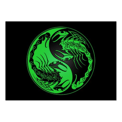 Green and Black Yin Yang Scorpions Business Card