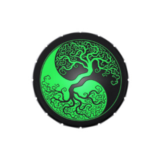 Green and Black Yin Yang Tree Jelly Belly Candy Tins