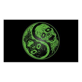 Green and Black Yin Yang Zombies Business Card Template