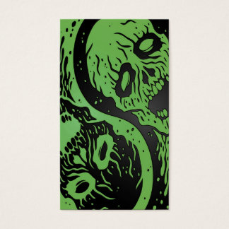 Green and Black Yin Yang Zombies Business Card