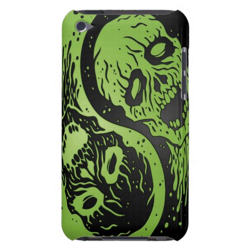 Green and Black Yin Yang Zombies Barely There iPod Covers