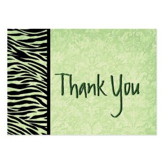 Green and Black Zebra and Damask Wedding Thank You Large Business Card