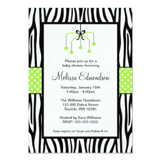 Green and Black Zebra Heart Mobile Baby Shower Card