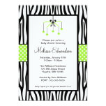 "Green and Black Zebra Heart Mobile Baby Shower 5"" X 7"" Invitation Card"
