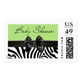 Green and Black Zebra Stripe Baby Shower Stamp