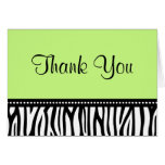 Green and Black Zebra Thank You Stationery Note Card