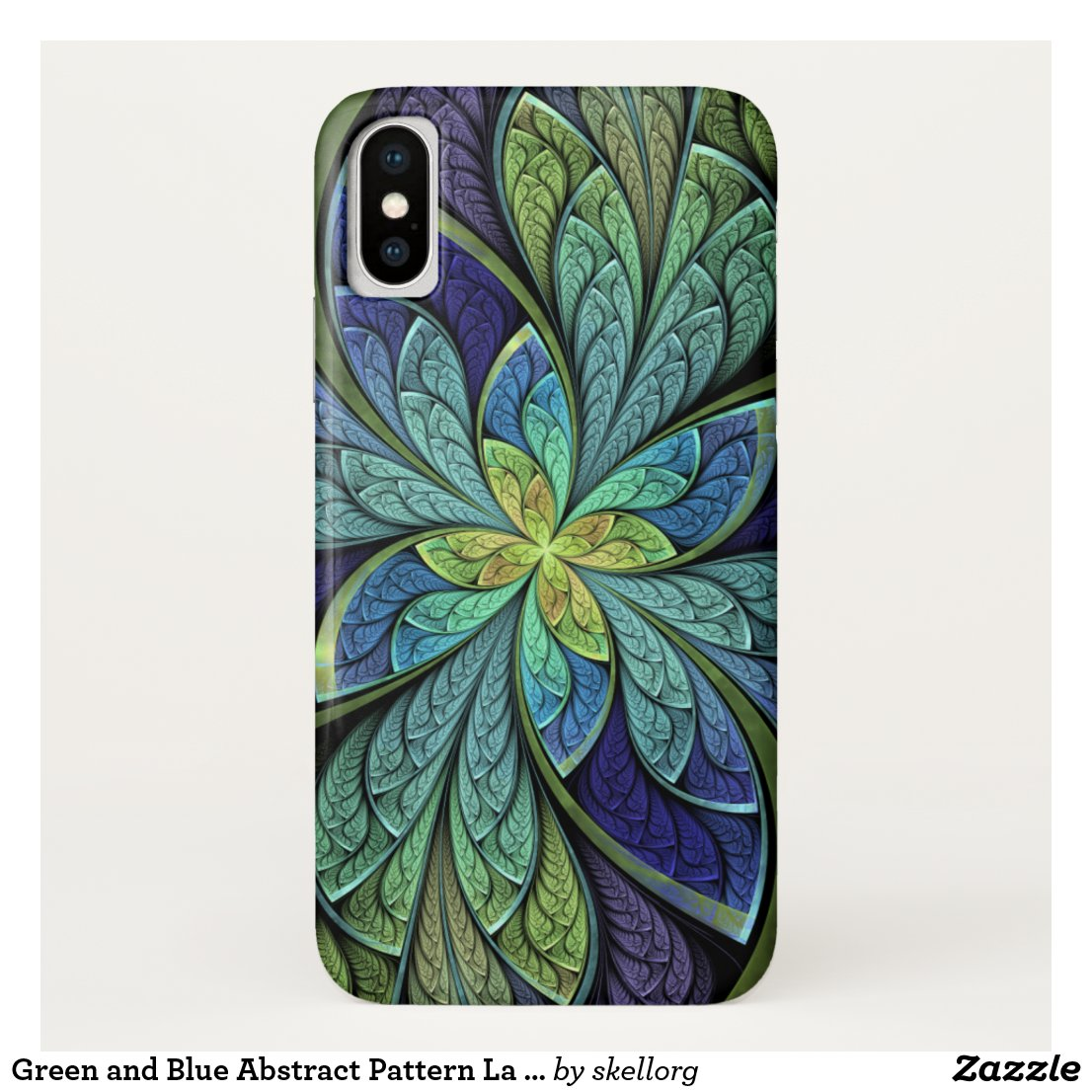 Green and Blue Abstract Pattern La Chanteuse IV iPhone X Case