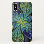 """Green and Blue Abstract Pattern La Chanteuse IV iPhone X Case<br><div class=""""desc"""">Phone case with &quot;La Chanteuse IV&quot; copyright 2010,  Susan Wallace. Abstract stained glass pattern of  leaves in blue and purple,  framing a central flower of green and turquoise.</div>"""