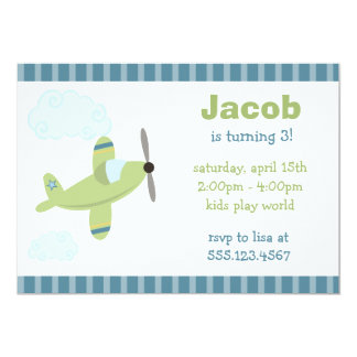 Green and Blue Airplane Birthday Party Invitations