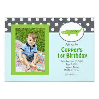"Green and blue Alligator Birthday Invitation 5"" X 7"" Invitation Card"