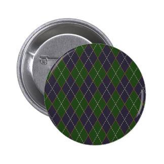 Green and Blue Argyle Button