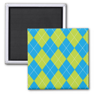 Green and Blue Argyle Pattern 2 Inch Square Magnet