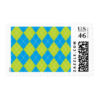 Green and Blue Argyle Pattern Postage