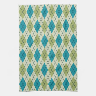 Green and Blue Argyle Towel