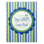 Green and Blue-Baby Shower Guest Book- Note Book