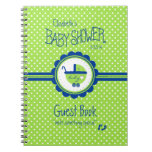 Green and Blue Baby Shower Guest Book- Spiral Notebook