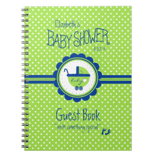Green and Blue Baby Shower Guest Book- Spiral Notebooks