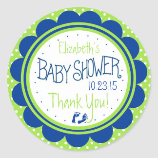 Green and Blue Baby Shower Scalloped Edge Classic Round Sticker