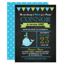 Green and Blue Baby Whale Birthday Party Invite