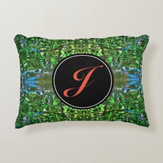 Green and Blue Background with Custom Monogram