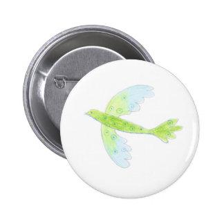 green and blue bird button