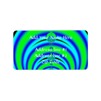 Green and Blue Bubbles Fractal Label