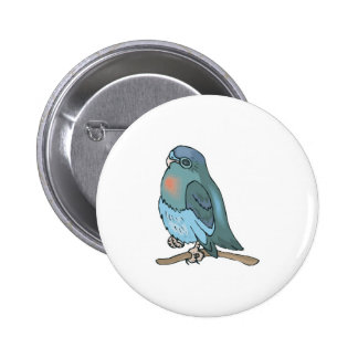 green and blue budgie bird 2 inch round button