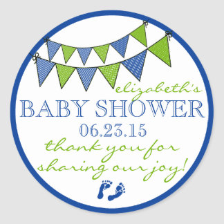 Green and Blue Bunting Flags Baby Shower Thank You Classic Round Sticker