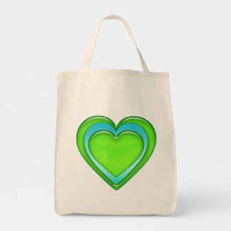 Green And Blue Candy Gel Heart Organic Tote Bag