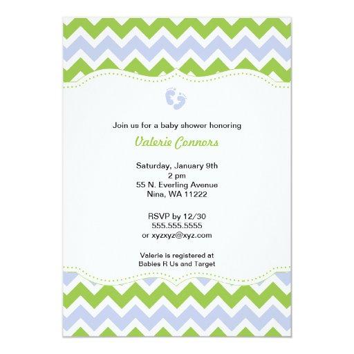 Green and Blue Chevron Baby Shower Invite