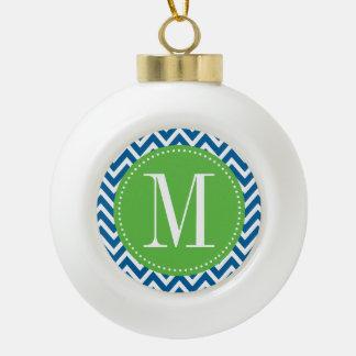 Green and Blue Chevron Custom Monogram Ceramic Ball Christmas Ornament