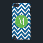 "Green and Blue Chevron Custom Monogram iPod Touch (5th Generation) Case<br><div class=""desc"">Protect your iPod with this trendy and modern chevron pattern case. Write your first name initial on the template to personalize. You can change the blue stripes color by clicking the Customize it button - Edit Menu - Background.</div>"