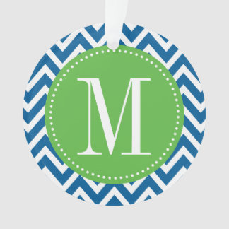 Green and Blue Chevron Custom Monogram Ornament