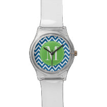 Green and Blue Chevron Custom Monogram Wristwatch