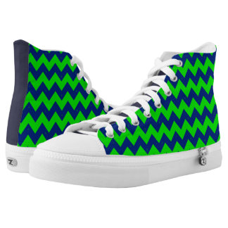 Green and Blue Chevron High-Top Sneakers