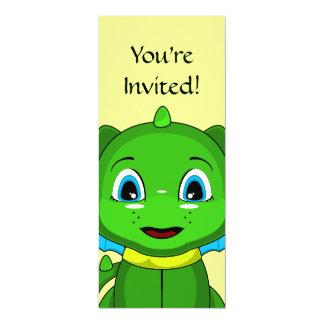 Green And Blue Chibi Dragon 4x9.25 Paper Invitation Card