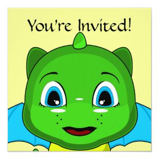 Green And Blue Chibi Dragon 5.25x5.25 Square Paper Invitation Card