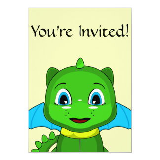 Green And Blue Chibi Dragon 5x7 Paper Invitation Card