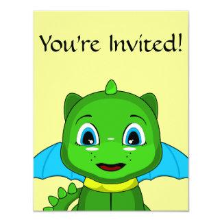 Green And Blue Chibi Dragon 4.25x5.5 Paper Invitation Card
