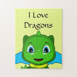 Green And Blue Chibi Dragon Jigsaw Puzzles