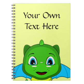 Green And Blue Chibi Dragon Spiral Notebooks