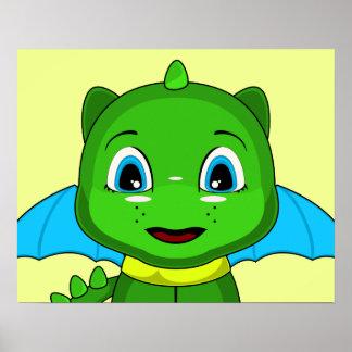 Green And Blue Chibi Dragon Print