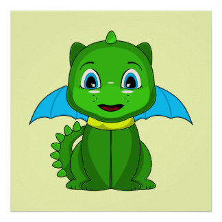 Green And Blue Chibi Dragon Poster