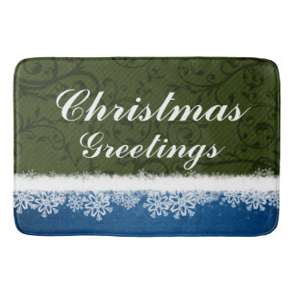 Green and Blue Christmas Greetings Snowflakes Bath Mats