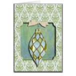 Green and Blue Christmas Tree Ornament Card
