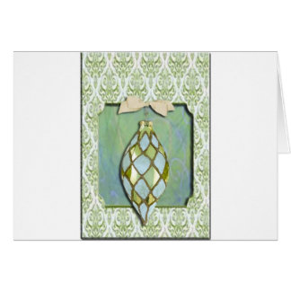 Green and Blue Christmas Tree Ornament Cards