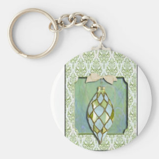 Green and Blue Christmas Tree Ornament Keychains