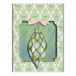 Green and Blue Christmas Tree Ornament Postcard