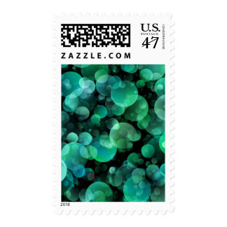 Green and Blue Circle Bubbles over a Black Postage